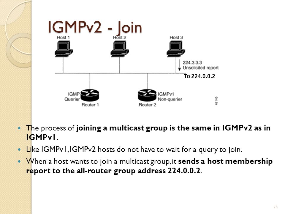 IGMPv2 - Join To 224.0.0.2. The process of joining a multicast group is the same in IGMPv2 as in IGMPv1.