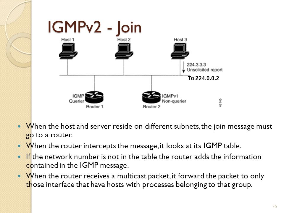 IGMPv2 - Join To 224.0.0.2. When the host and server reside on different subnets, the join message must go to a router.