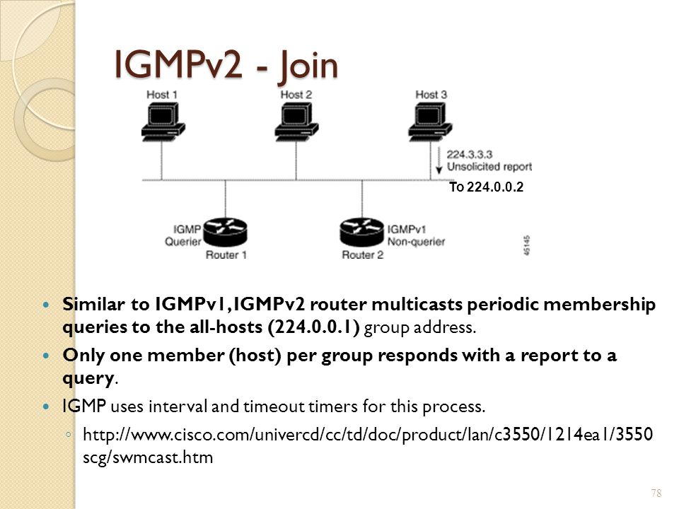 IGMPv2 - Join To 224.0.0.2. Similar to IGMPv1, IGMPv2 router multicasts periodic membership queries to the all-hosts (224.0.0.1) group address.