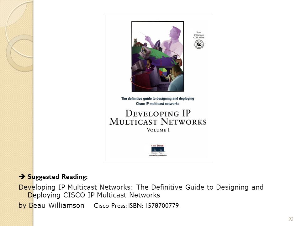 Suggested Reading: Developing IP Multicast Networks: The Definitive Guide to Designing and Deploying CISCO IP Multicast Networks by Beau Williamson Cisco Press; ISBN: 1578700779