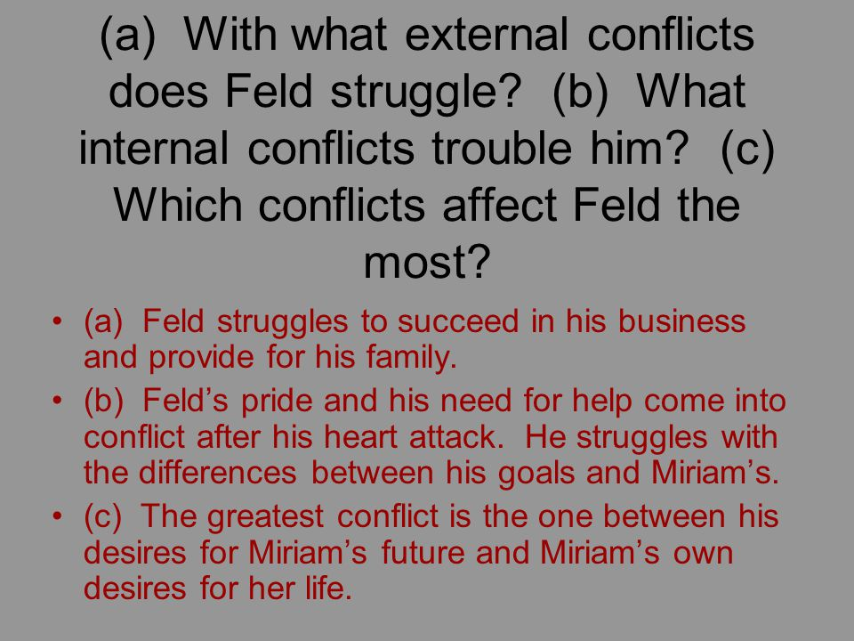 (a) With what external conflicts does Feld struggle