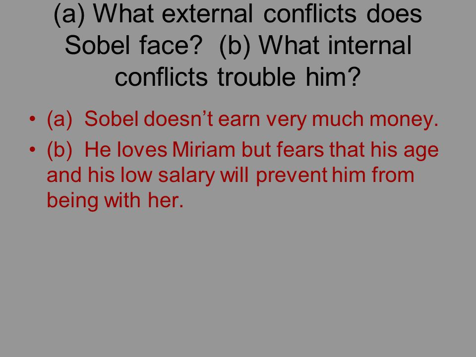 (a) What external conflicts does Sobel face