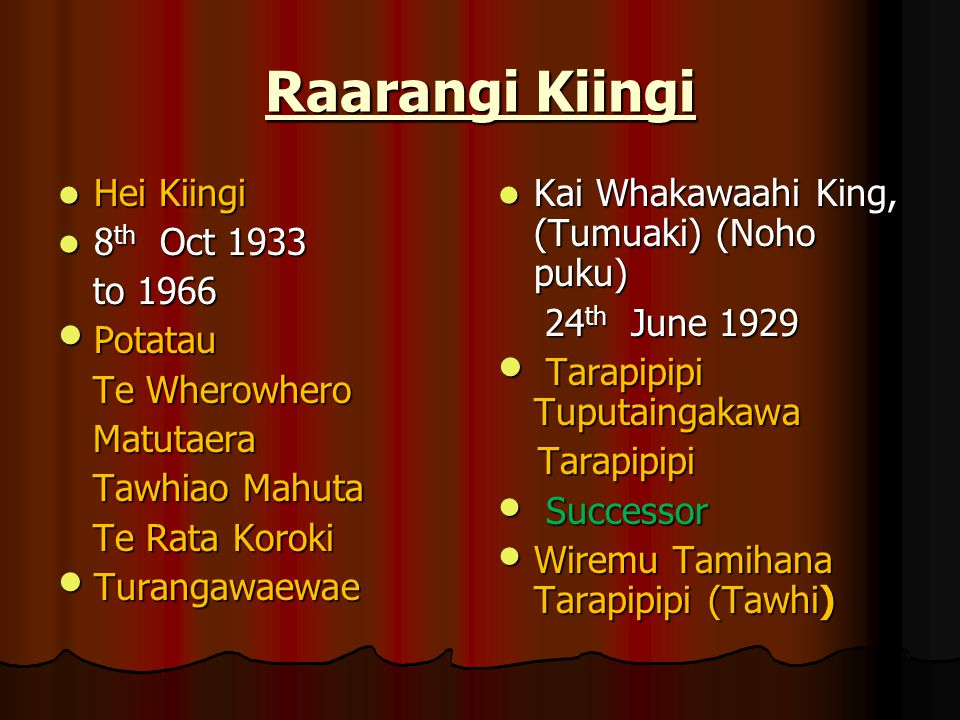 Raarangi Kiingi Hei Kiingi 8th Oct 1933 to 1966 Potatau Te Wherowhero