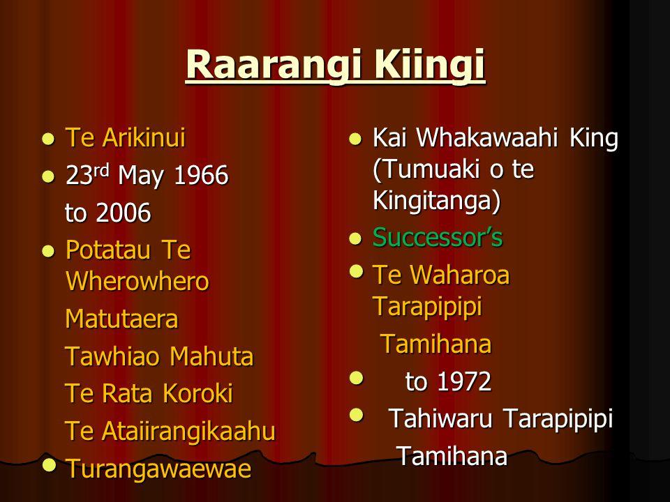 Raarangi Kiingi Te Arikinui 23rd May 1966 to 2006