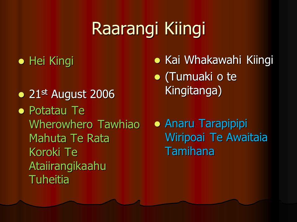 Raarangi Kiingi Kai Whakawahi Kiingi Hei Kingi