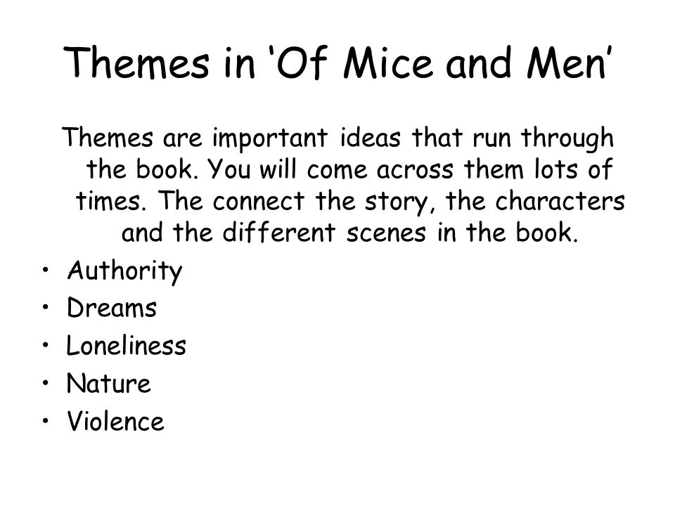 Themes in 'Of Mice and Men'