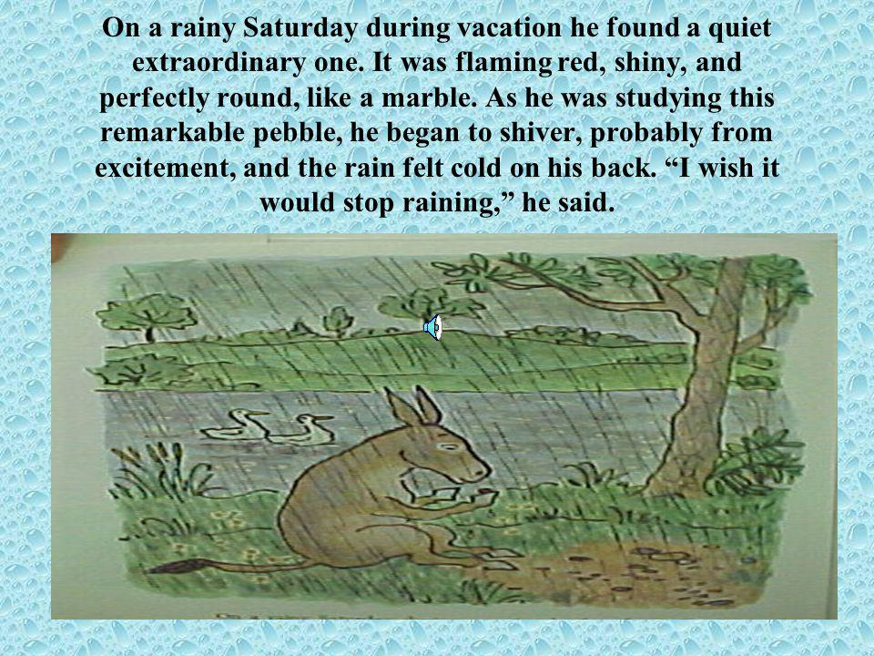 On a rainy Saturday during vacation he found a quiet extraordinary one