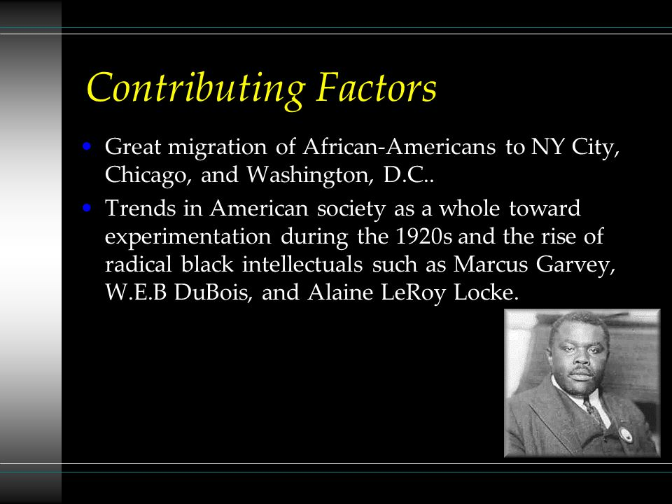 Contributing Factors Great migration of African-Americans to NY City, Chicago, and Washington, D.C..