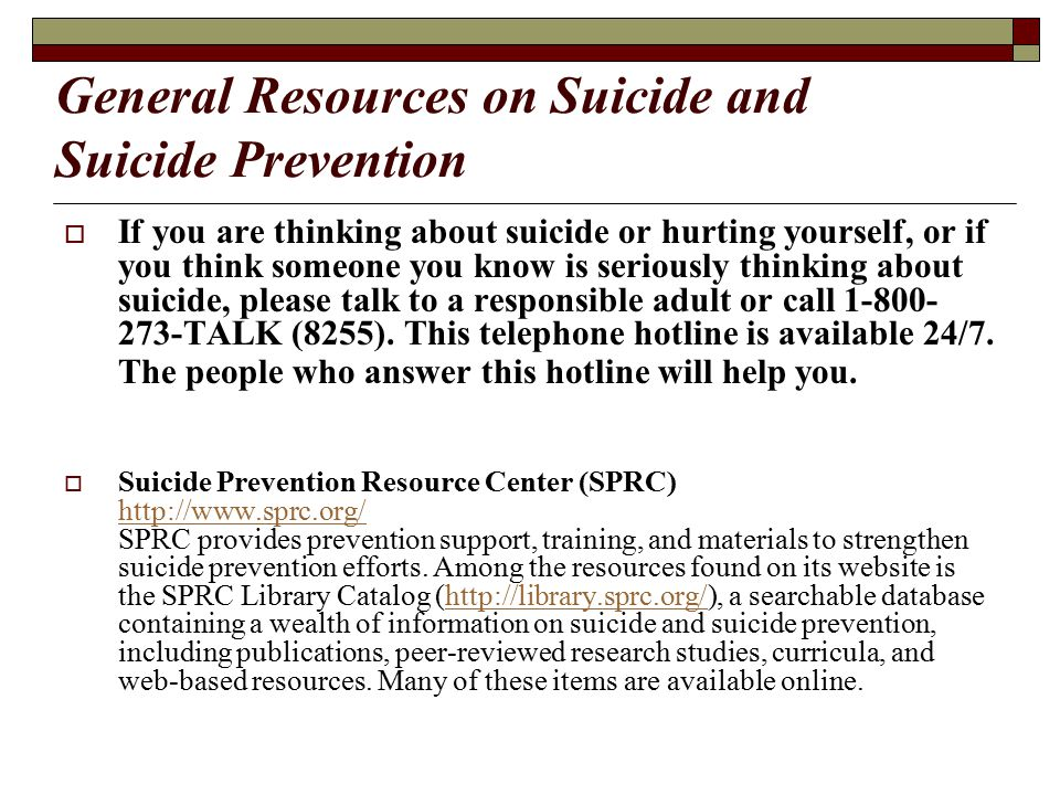 General Resources on Suicide and Suicide Prevention