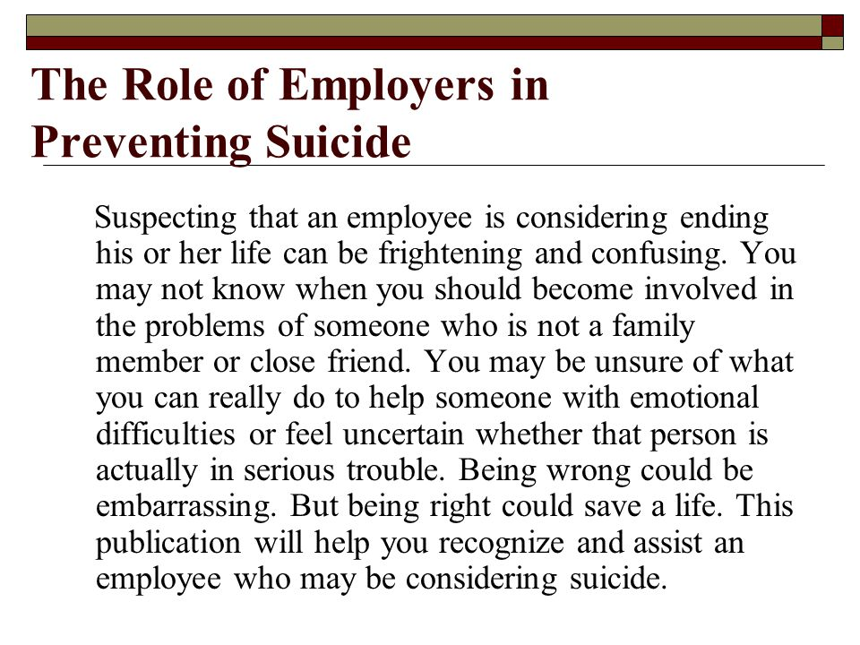 The Role of Employers in Preventing Suicide