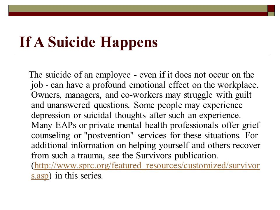 If A Suicide Happens