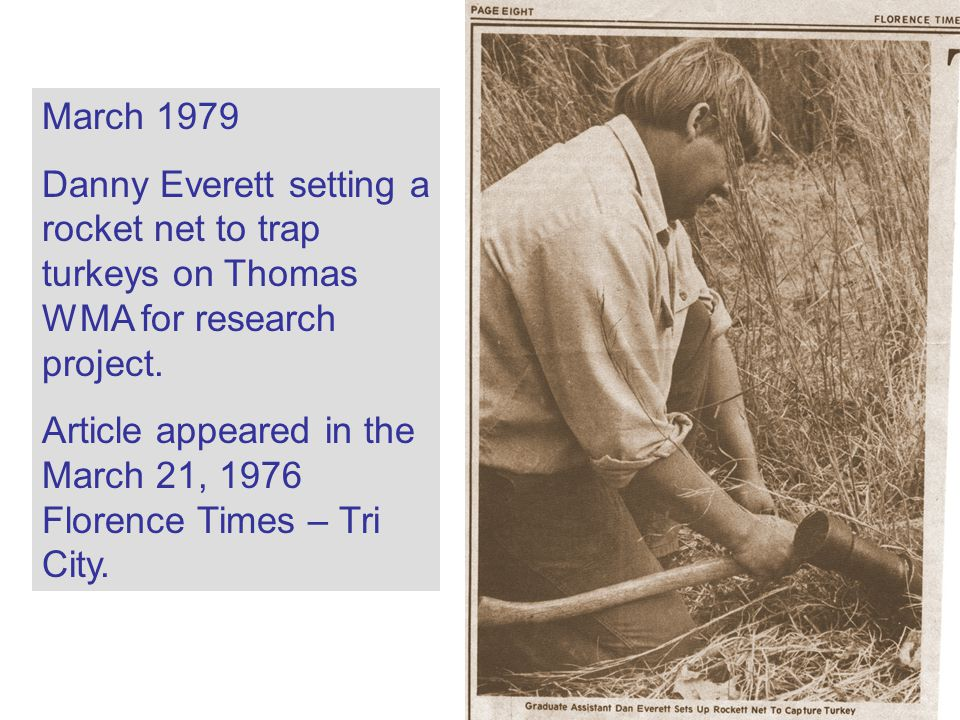 March 1979 Danny Everett setting a rocket net to trap turkeys on Thomas WMA for research project.