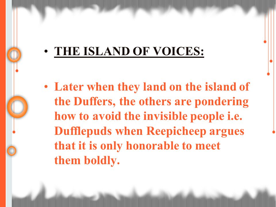 THE ISLAND OF VOICES: