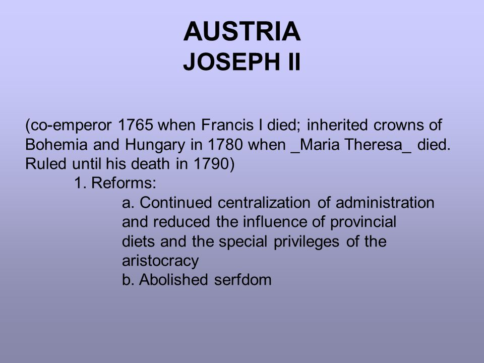 AUSTRIA JOSEPH II