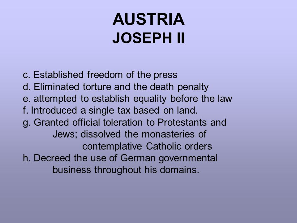 AUSTRIA JOSEPH II c. Established freedom of the press