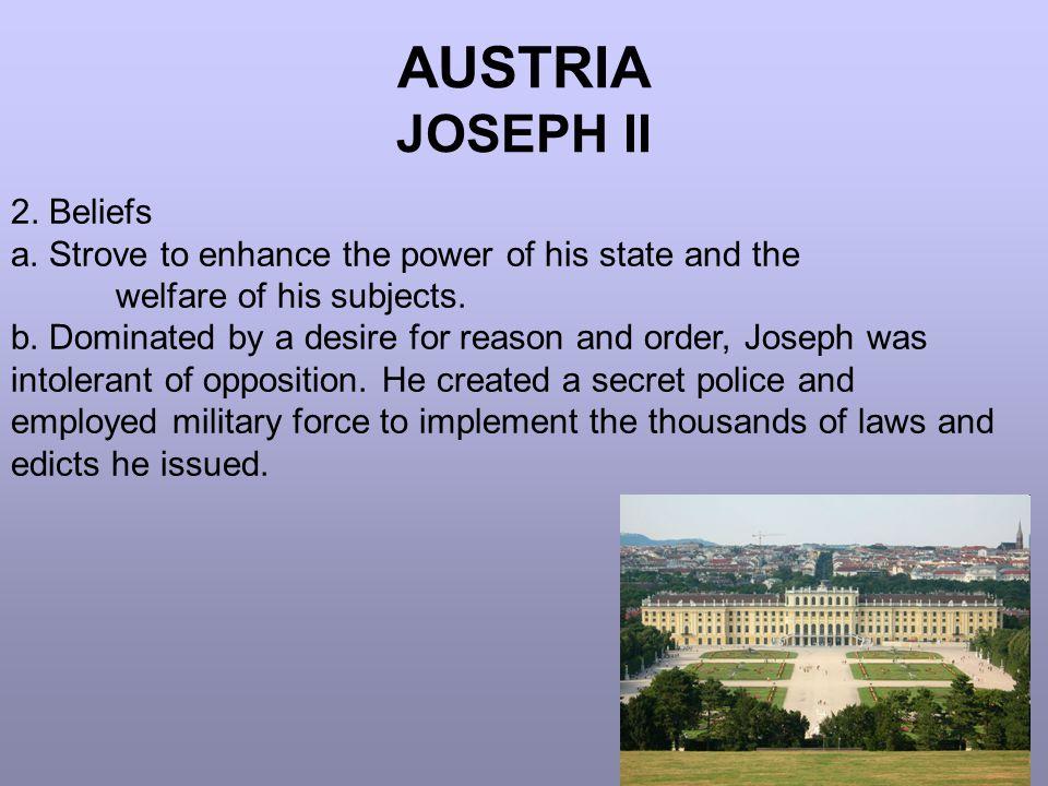 AUSTRIA JOSEPH II 2. Beliefs