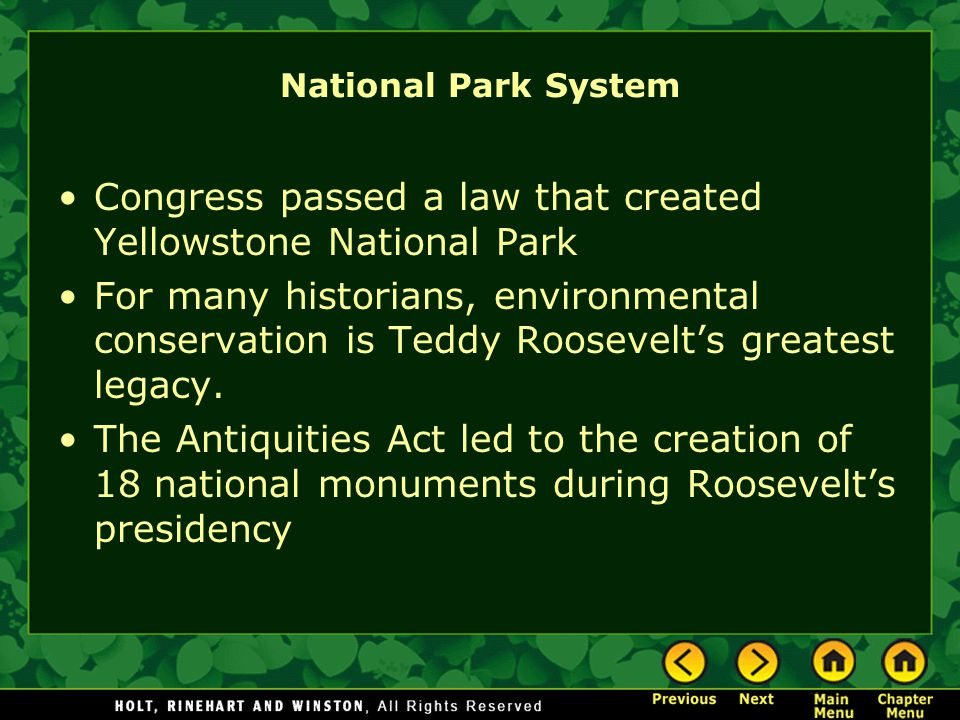 Congress passed a law that created Yellowstone National Park