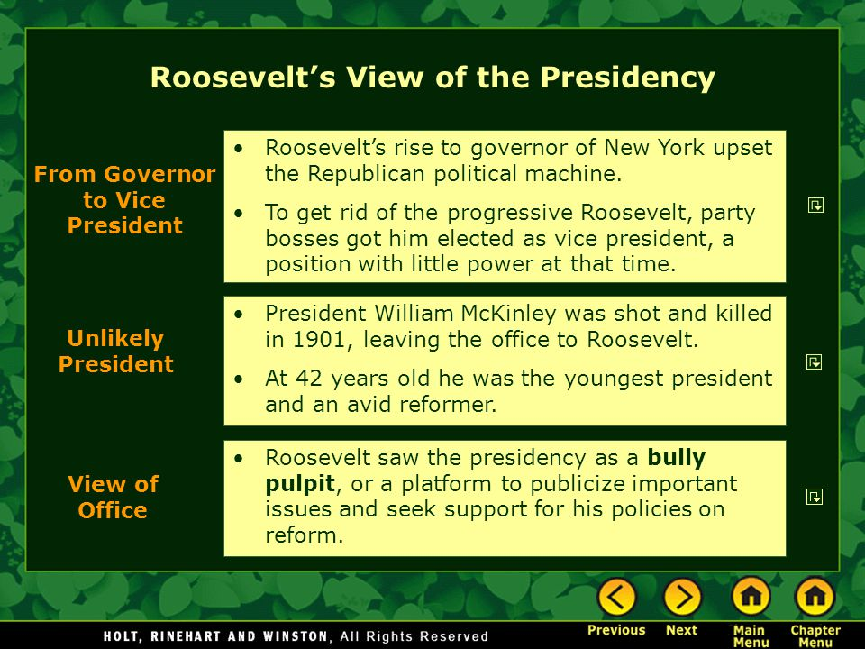 Roosevelt's View of the Presidency