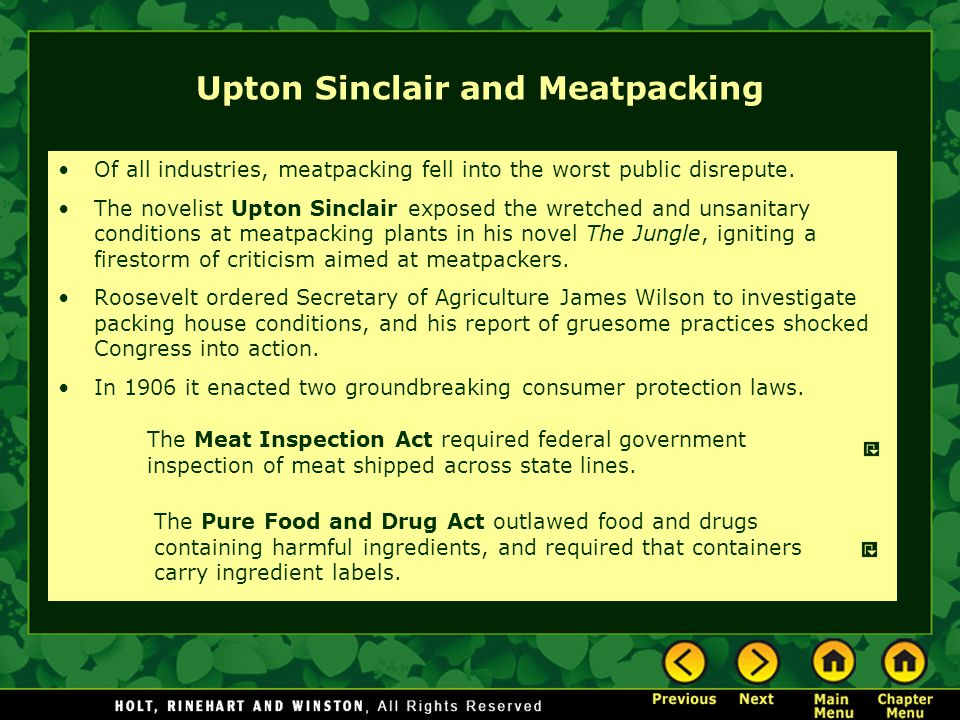 Upton Sinclair and Meatpacking