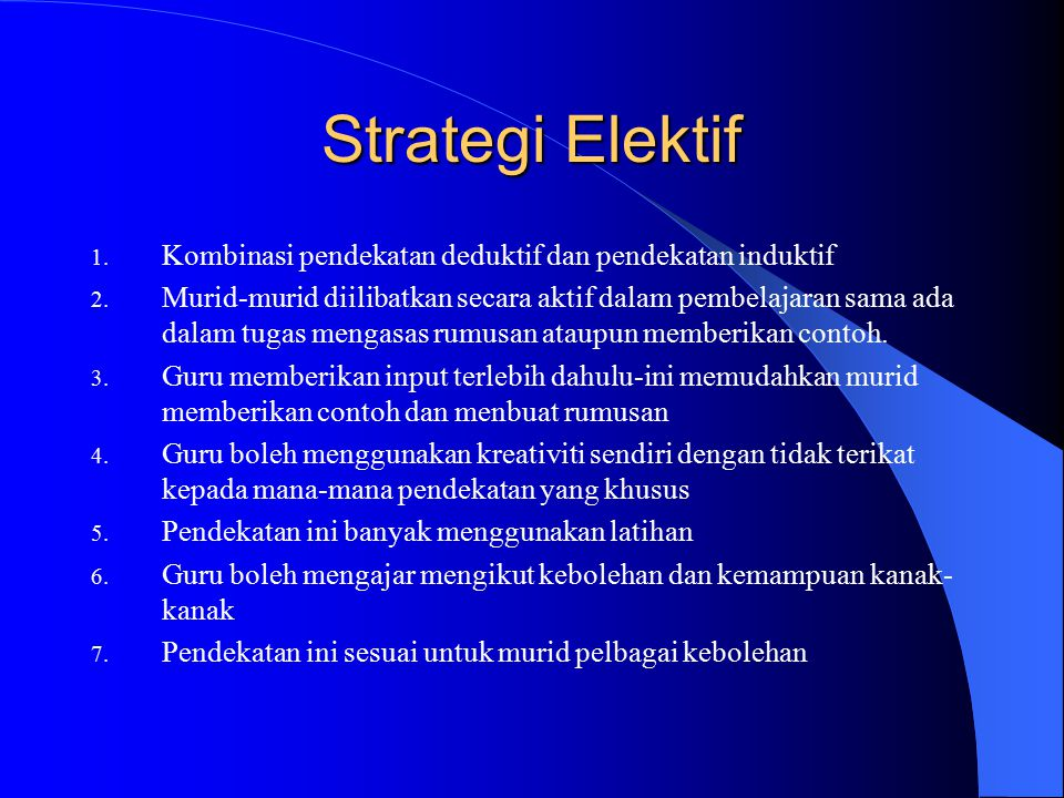 Strategi Elektif Kombinasi pendekatan deduktif dan pendekatan induktif