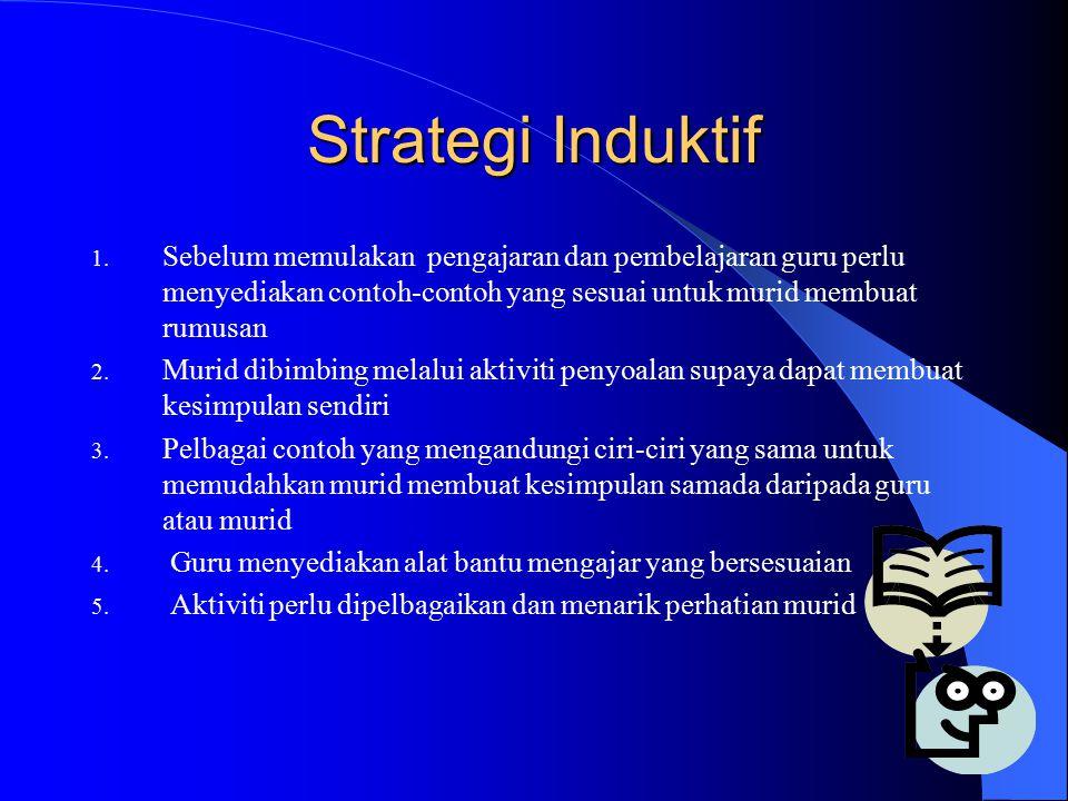 Strategi Induktif Sebelum memulakan pengajaran dan pembelajaran guru perlu menyediakan contoh-contoh yang sesuai untuk murid membuat rumusan.