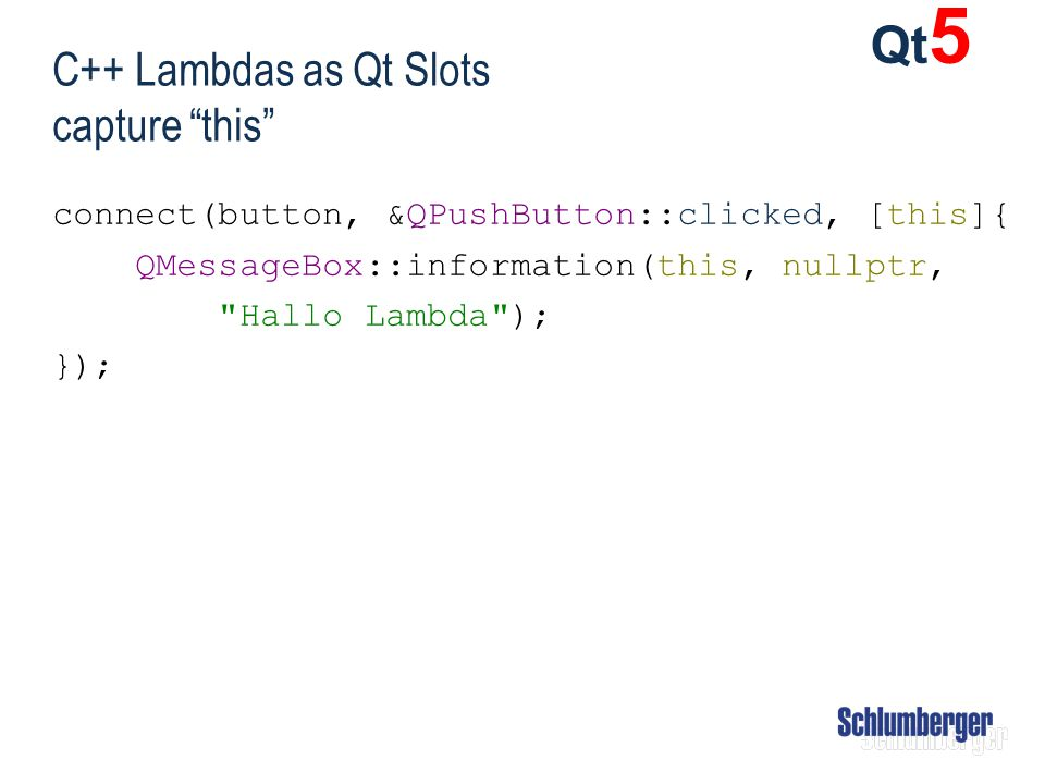 C++ Lambdas as Qt Slots capture this