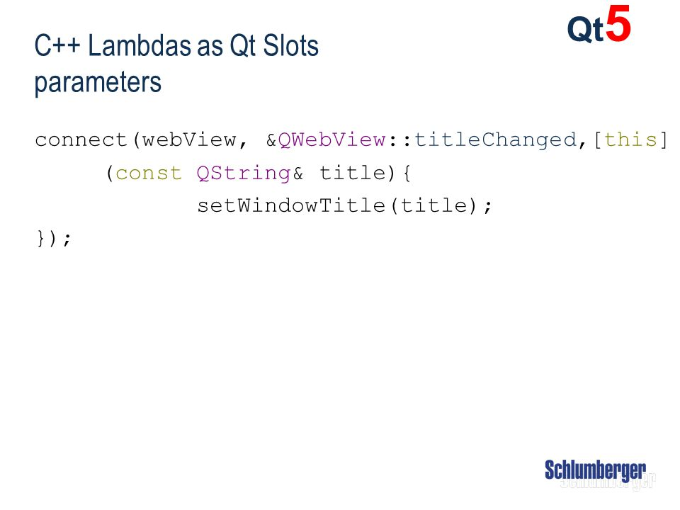 C++ Lambdas as Qt Slots parameters