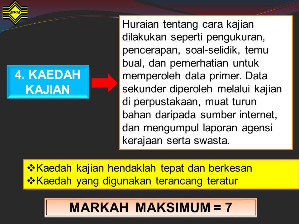 MARKAH MAKSIMUM = 7 4. KAEDAH KAJIAN