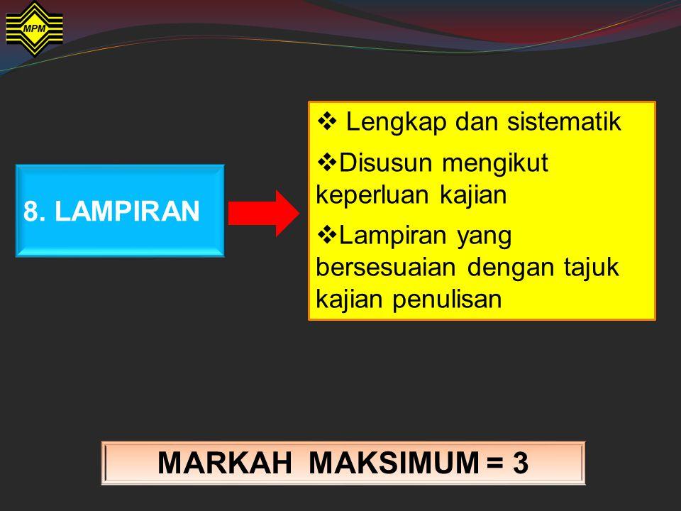 MARKAH MAKSIMUM = 3 8. LAMPIRAN Lengkap dan sistematik