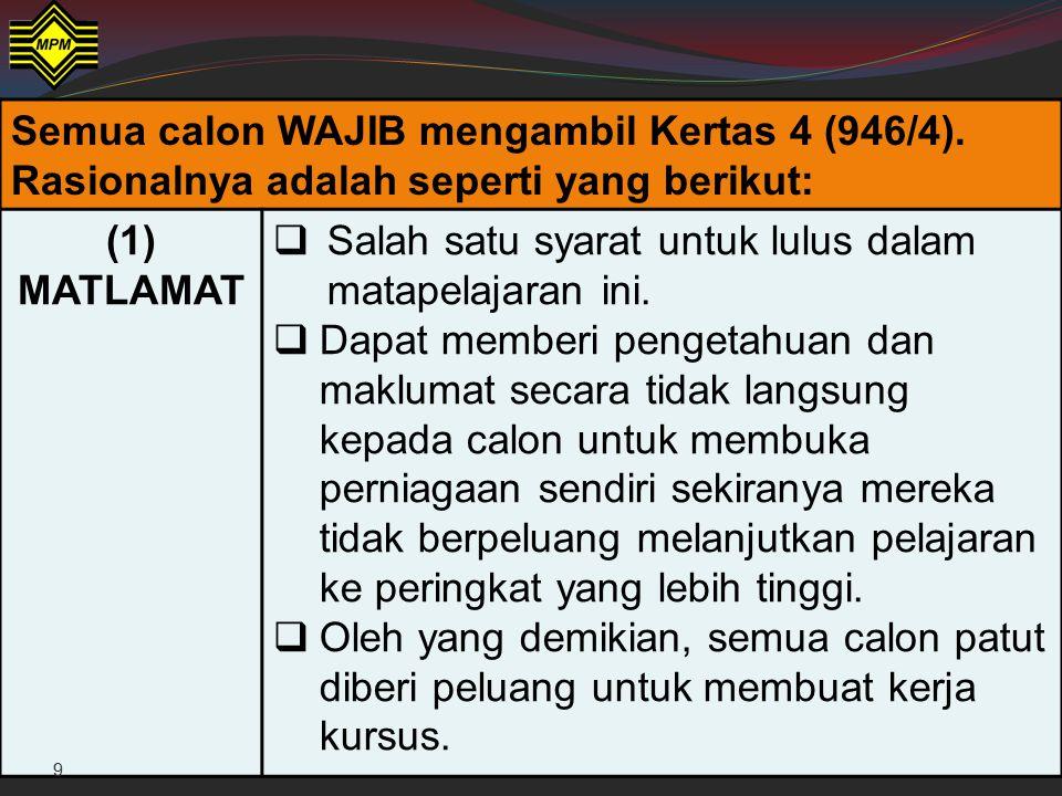 Semua calon WAJIB mengambil Kertas 4 (946/4)
