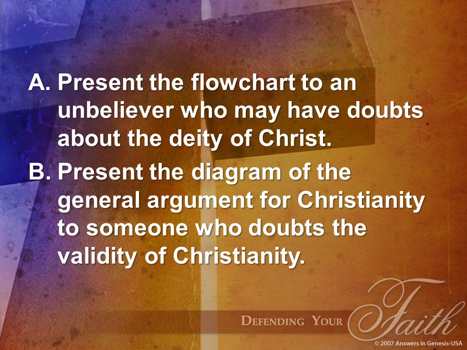 Present the flowchart to an unbeliever who may have doubts about the deity of Christ.