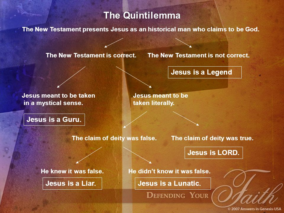 The Quintilemma Jesus is a Legend Jesus is a Guru. Jesus is LORD.