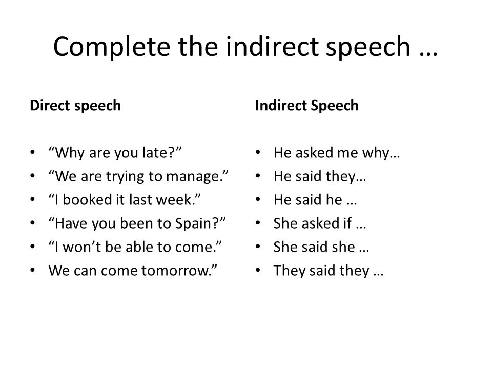 Complete the indirect speech …