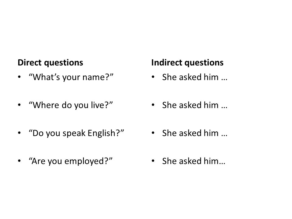 Direct questions Indirect questions. What's your name Where do you live Do you speak English