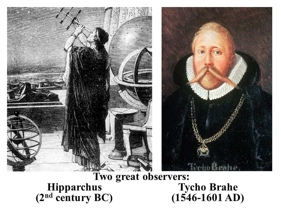 Two great observers: Hipparchus Tycho Brahe (2nd century BC) (1546-1601 AD)