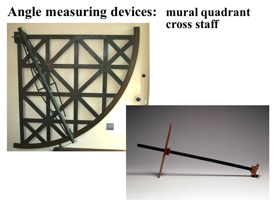 Angle measuring devices: mural quadrant