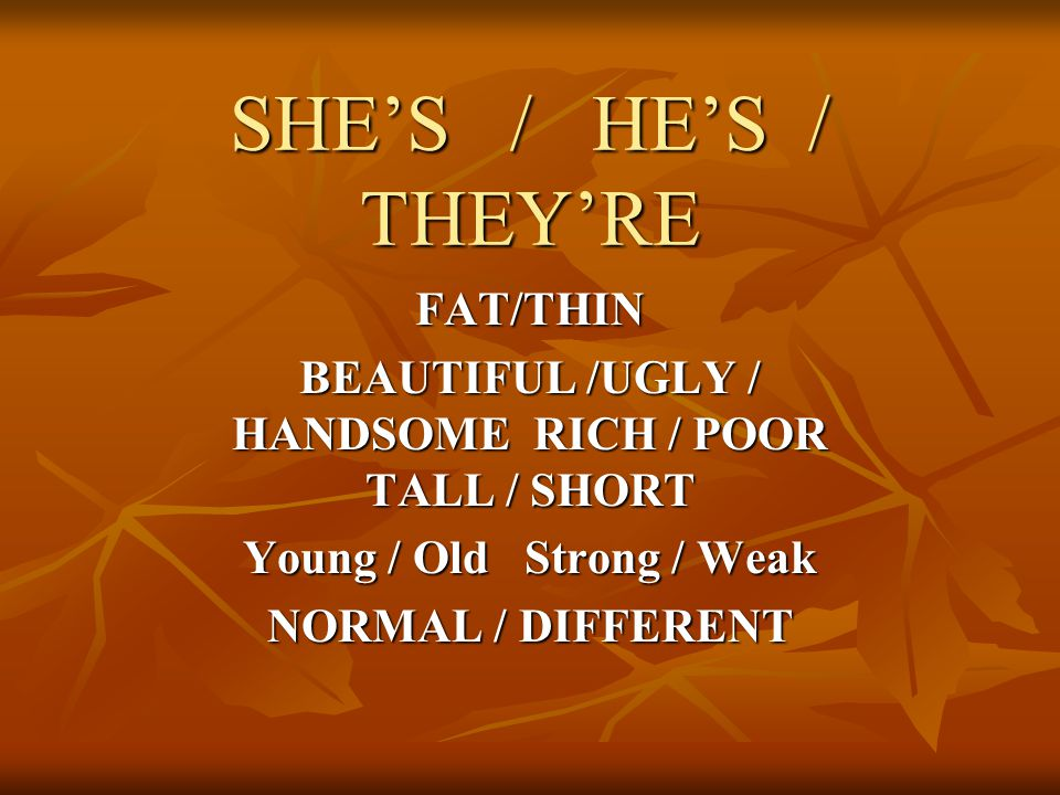 SHE'S / HE'S / THEY'RE FAT/THIN