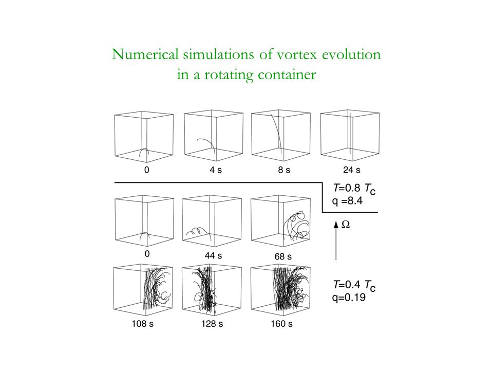 Numerical simulations of vortex evolution in a rotating container
