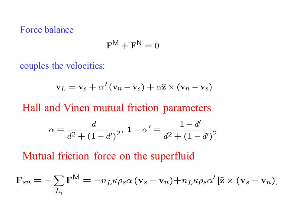 Hall and Vinen mutual friction parameters