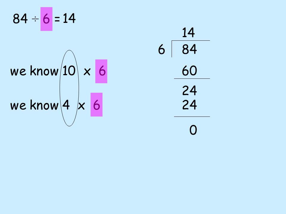 84 ÷ 6 = 14 14 6 84 we know 10 x 6 60 24 we know 4 x 6 24