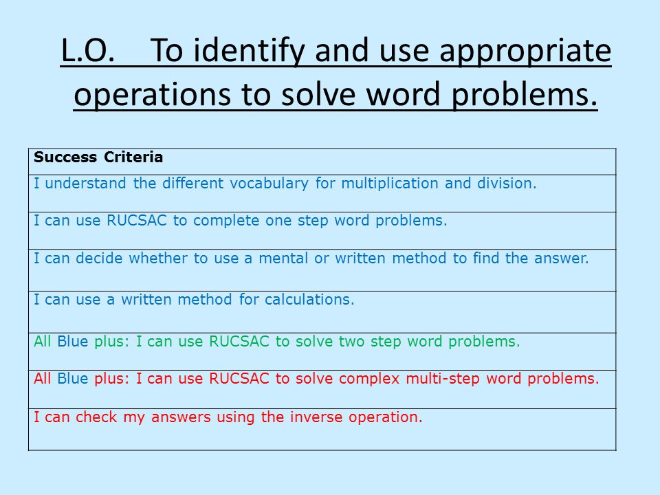 L.O. To identify and use appropriate operations to solve word problems.