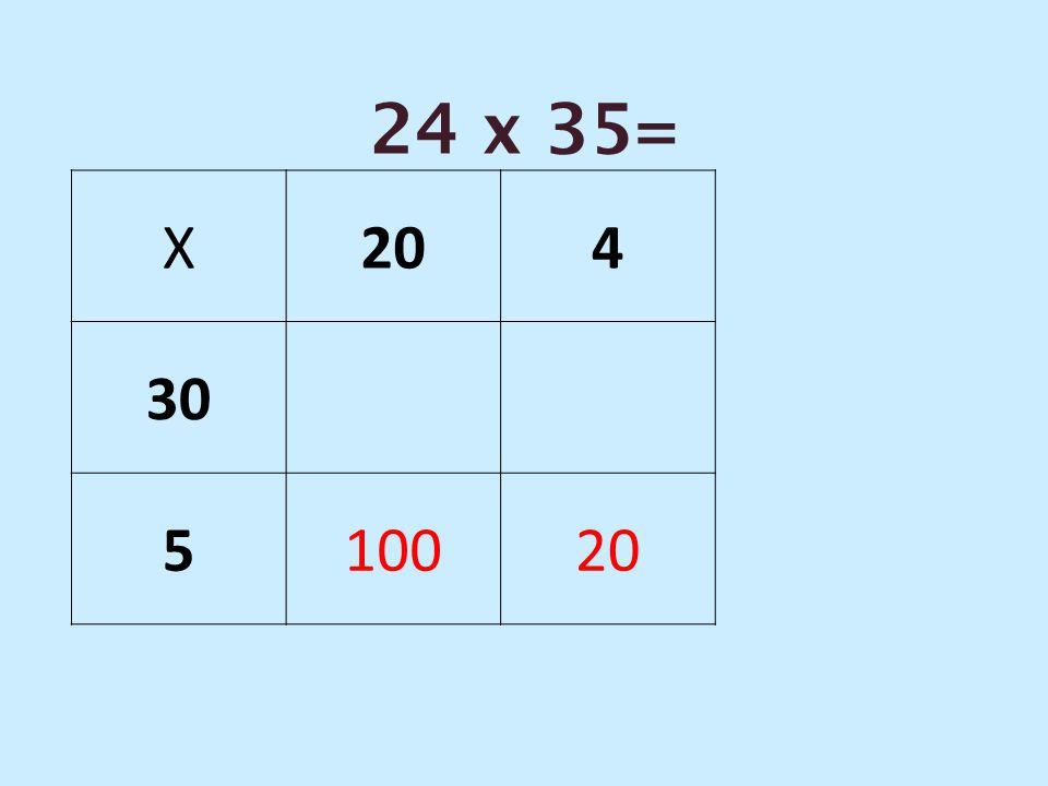 24 x 35= X 20 4 30 5 100