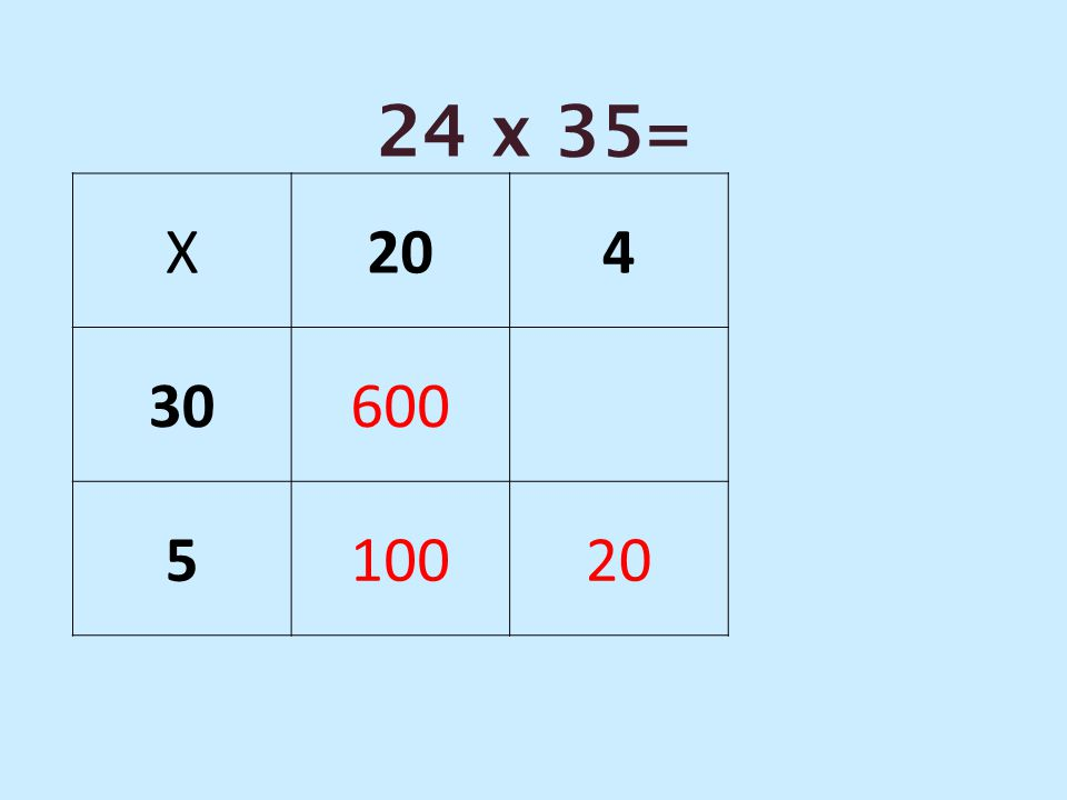 24 x 35= X 20 4 30 600 5 100