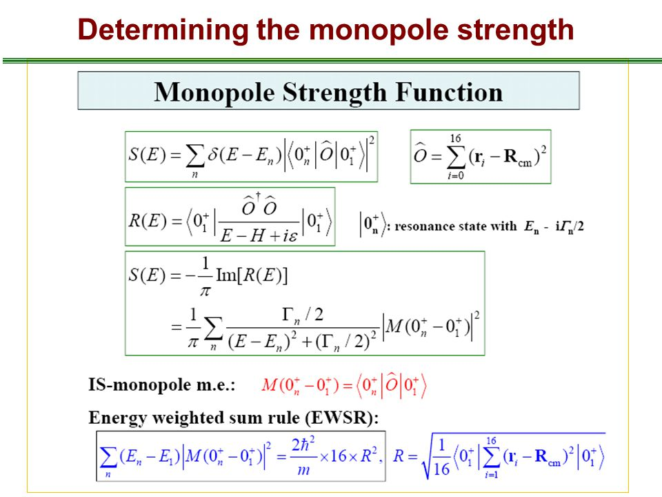 Determining the monopole strength