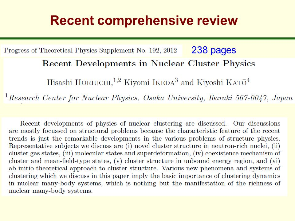 Recent comprehensive review