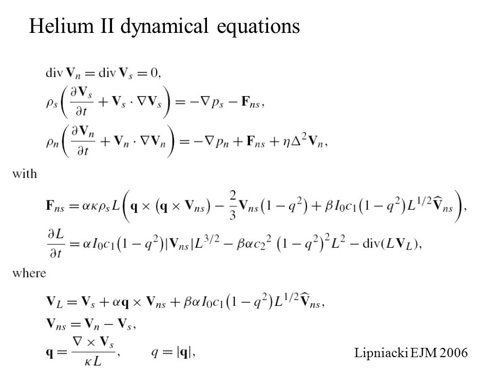 Helium II dynamical equations