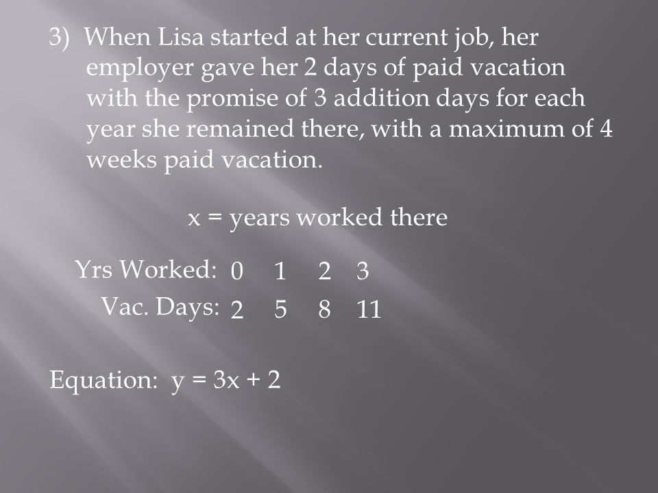 3) When Lisa started at her current job, her employer gave her 2 days of paid vacation with the promise of 3 addition days for each year she remained there, with a maximum of 4 weeks paid vacation.