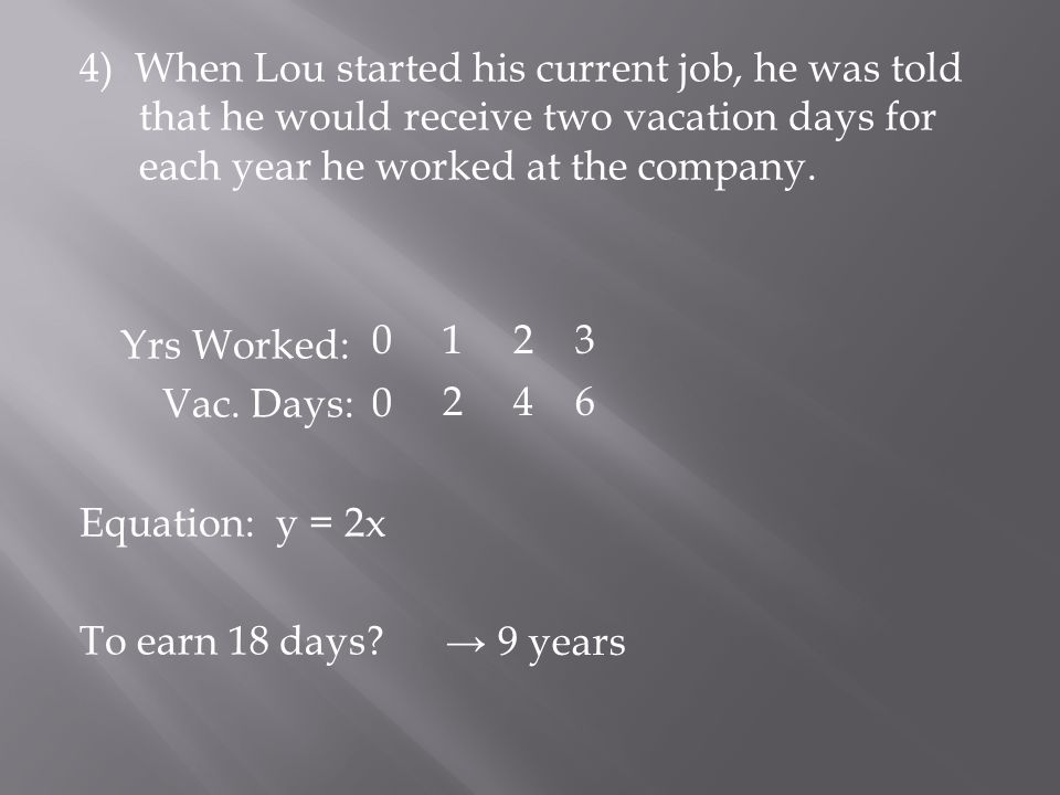 4) When Lou started his current job, he was told that he would receive two vacation days for each year he worked at the company.