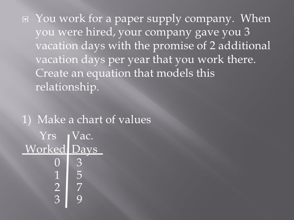 You work for a paper supply company