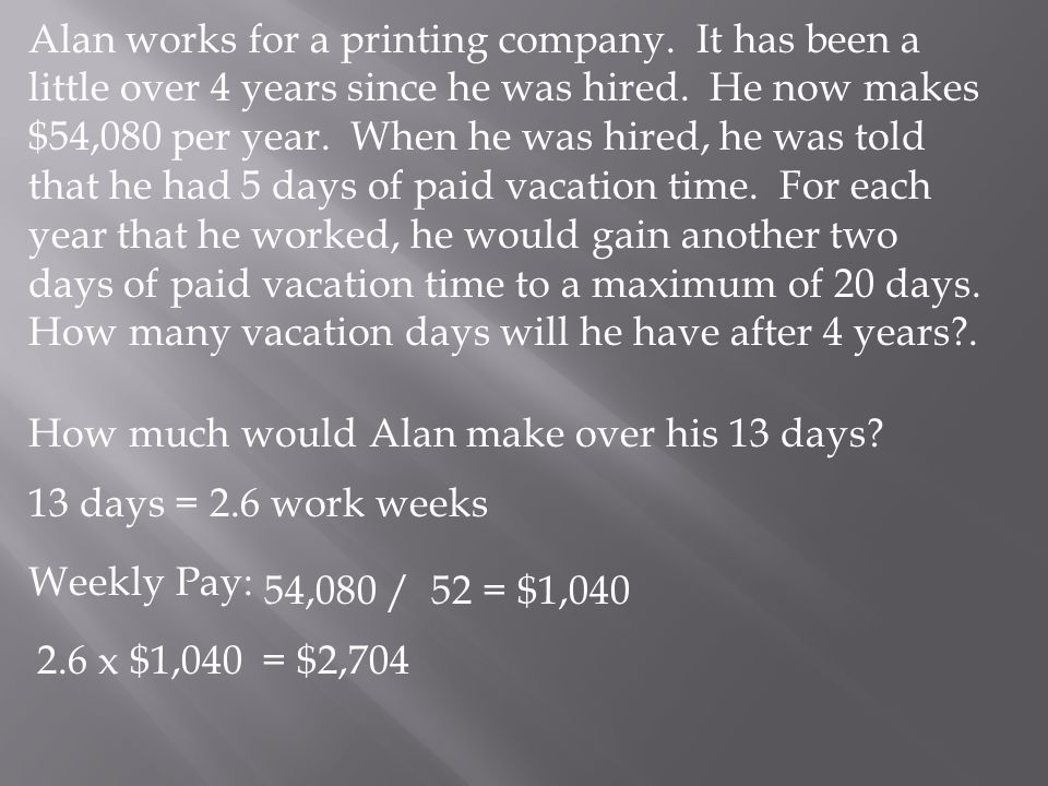 Alan works for a printing company